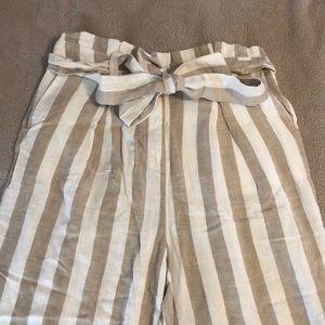Striped Linen-Blend Paperbag-Waist Pants